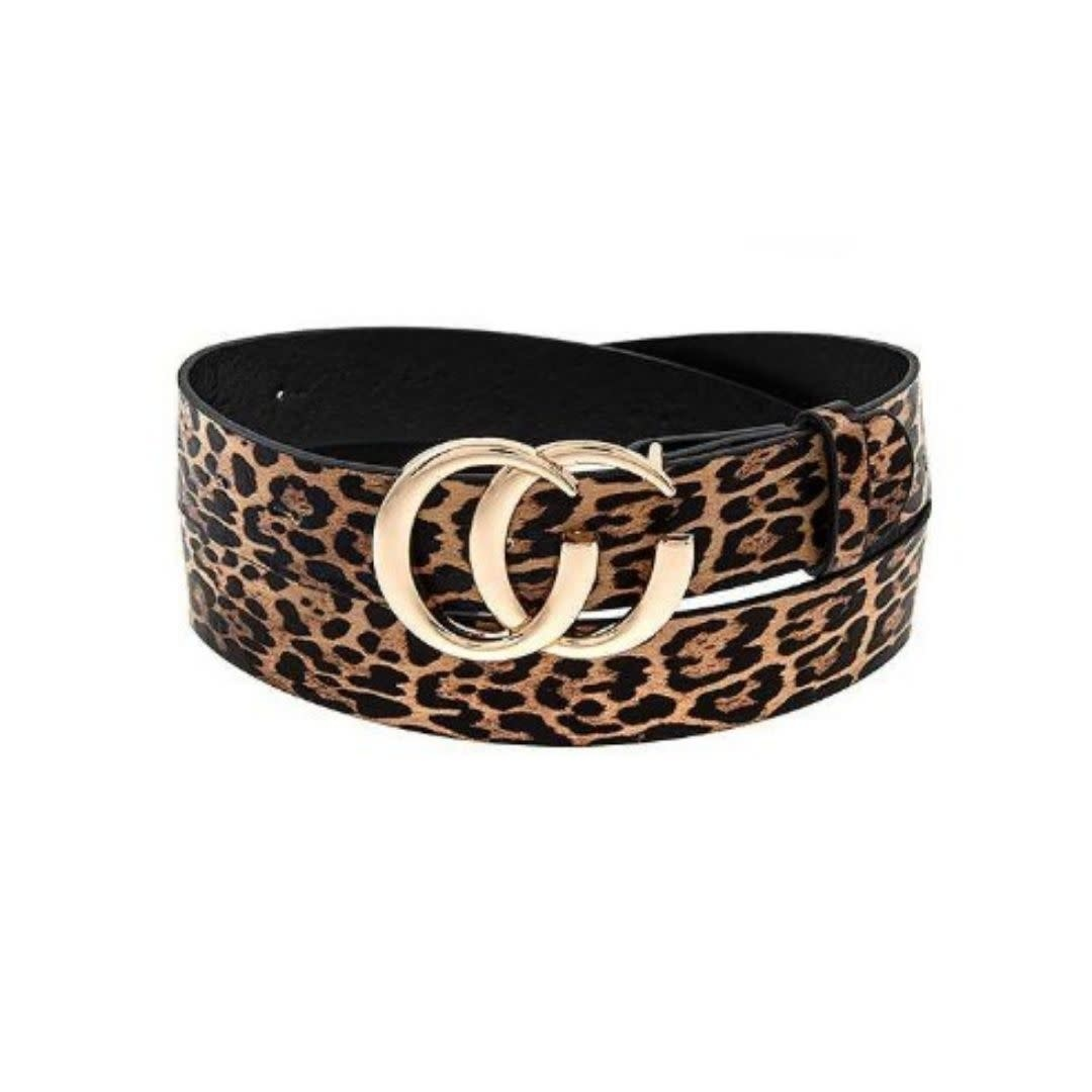 Gold Double CC Belt - Cheetah