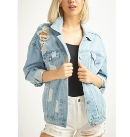 Boyfriends Jacket Denim Distressed - L. Denim