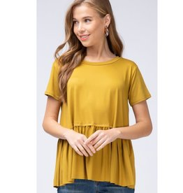 Gets Me Going Solid Scoop Neck Top - Mustard