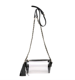 Catch Me Love - Clear Black Cyl. Purse With Gold Chain