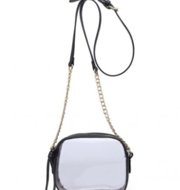 You Need This - Clear Black Purse With Gold Chain