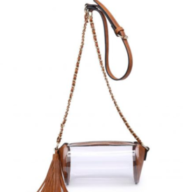 The New New - Clear Tan Cyl. Purse With Gold Chain