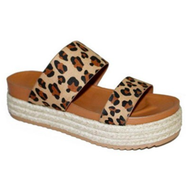 Red Hot Wedge Sandal - Leopard