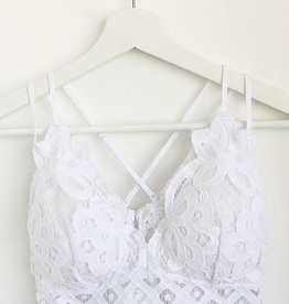 Fallen Flowers Scalloped Lace Bralette - White