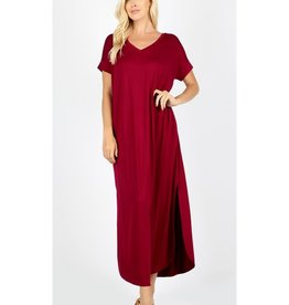 Tell The World Short Sleeve Dress W/Pockets - Cabernet