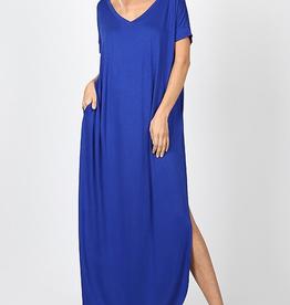 Tell The World Short Sleeve Dress W/Pockets - Denim Blue