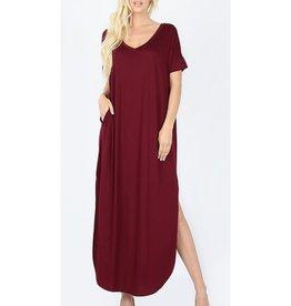 Be A Little Sweetie Maxi Dress- DK Burgundy