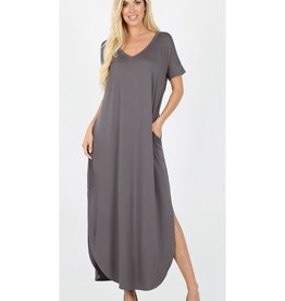Be A Little Sweetie Maxi Dress- Mid Grey