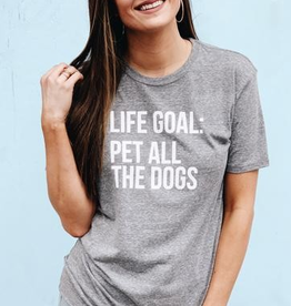 Pet All The Dogs Graphic Tee - Heather Grey