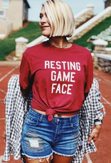 Resting Game Face Graphic Tee  -Cardinal