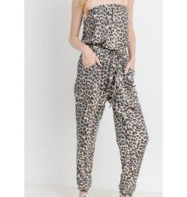 Still On My Brain Leopard Print Tube Top Jumpsuit - Brown