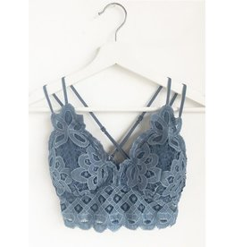 Fallen Flowers Scalloped Lace Bralette- Blue Stone