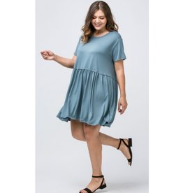 Ready Or Not Crew Neck Babydoll Dress - Slate