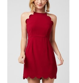 Crash Through The Surface High Neck Dress - Burgundy