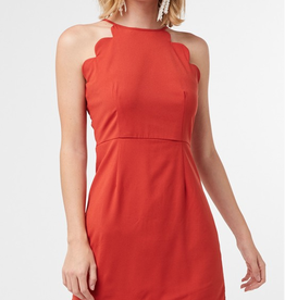 Crash Through The Surface High Neck Dress - Rust