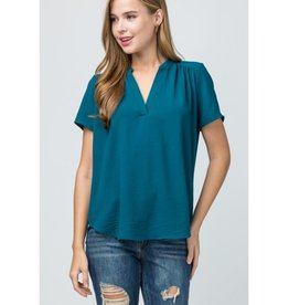 Move Forward V-Neck Placket Top - Teal