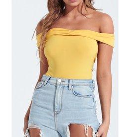 Big Changes Off Shoulder Open Back Bodysuit - Yellow