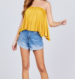 Rags To Riches Back Open Flare Tube Top - True Mustard