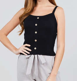 Remember Me Front Button Down Cami Top - Black