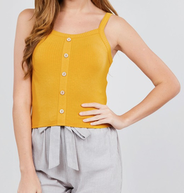 Remember Me Front Button Down Cami Top - Mustard