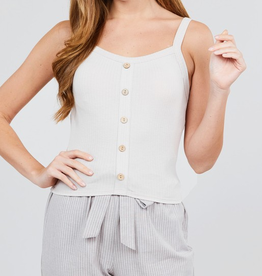 Remember Me Front Button Down Cami Top - Light Taupe
