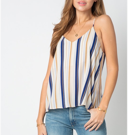 Can't Afford To Lose Stripe Tank Top - Taupe/Blue