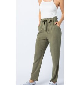 Heartless Linen With Belt Pants - Olive
