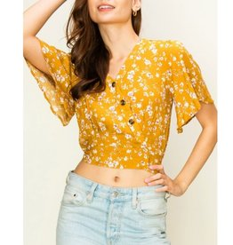 Keep Your Promise V-Neck W/Buttons Top - Camel