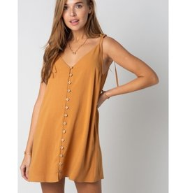 It Can't Wait Self Tie Spaghetti Strap Dress - Camel