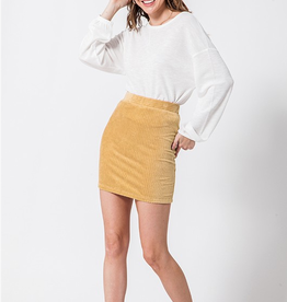 Just As Sweet Fitted Mini Skirt - Curry