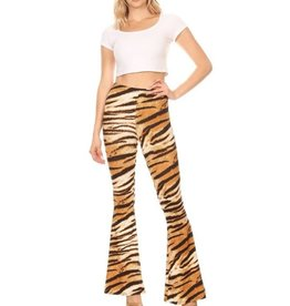 Take A Chance Tiger Fitted Flared Pants - TIger