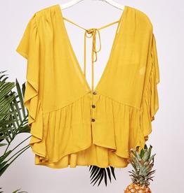Rock My World Butterfly Sleeve Woven Top - Mustard