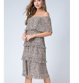 Far From Shallow Leopard Print Pleated Dress - Taupe