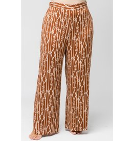 Traveling On This Road Tribal Print Wide Leg Pants - Rust