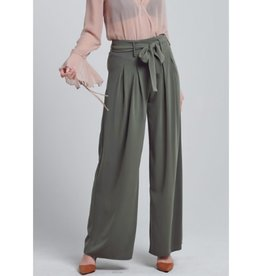 Sitting Alone Wide Leg Pants With Ribbon Waist - Olive