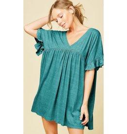Coastal Blooms Ruffled Sleeve Mini Dress - Jade
