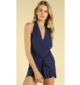 You And You Only Wrap Halter Romper - Navy