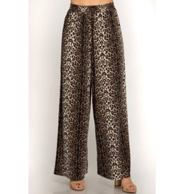 Do Your Thing Leopard Print Palazzo Print Pants - Olive Mocha