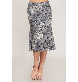 Playing With Fire Snake Skin Midi Skirt - Grey