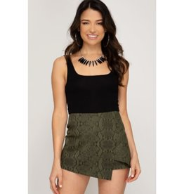 Please Don't Go Snake Skin Skort - Olive