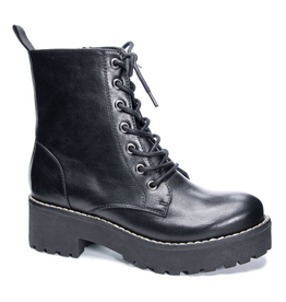 DIRTY LAUNDRY Mazzy Smooth Combat Boots - Black
