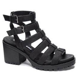 Fun Stuff Distress Strappy Sandal - Black