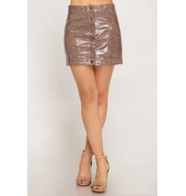 That's My Story Faux Leather Button Down Mini Skirt - Mocha