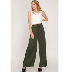 Life Is Better Satin Pants - Olive