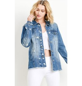 Tougher Than The Rest Oversized Distressed Jacket - Medium Wash