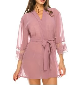 Hours Go By Sheer Mesh Robe - Dusty Rose