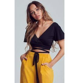 We Never Would Wrapped Strappy Cropped Top - Black