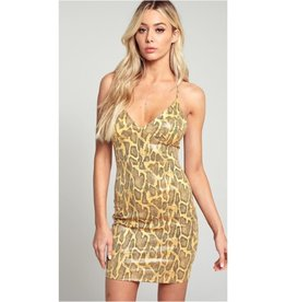 Wake Up Call Snake Print Bodycon Dress - Yellow
