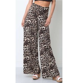 Lose Control Wide Leg Animal Print Pants - Brown