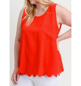 Feel At Ease Solid Sleeveless Top - Tomato Red